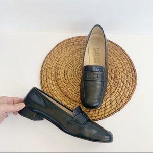Salvatore Ferragamo Black Leather Slip On Loafer 9